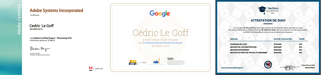 CERTIFICATIONS GOOGLE ANSSI PHOTOSHOP